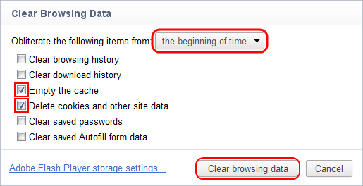 Empty the cache & Delete Cookies > Everything > Clear Browsing Data