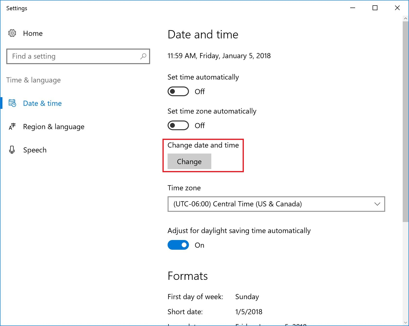 Windows 10 - Changing the System Date and Time