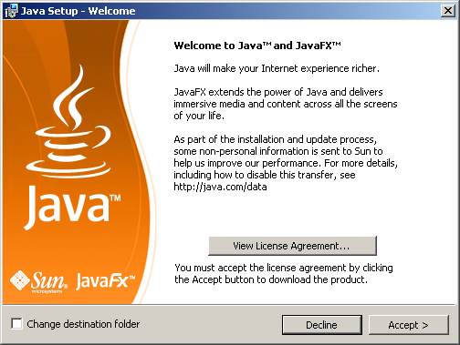 Welcome to Java and JavaFX - Click Accept >