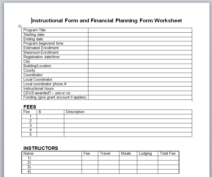 Financial Planning Worksheet images