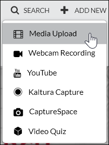 "Kaltura's ""Add New"" menu item clicked on so the menu is expanded and shows the cursor over ""Media Upload""."