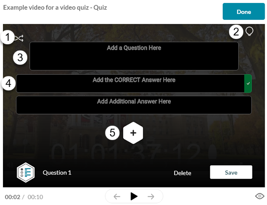 A screenshot showing the Kaltura IVQ question editor with a multiple choice question.
