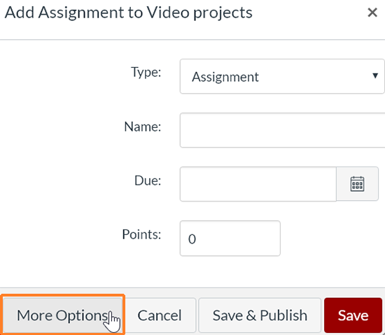 "A screenshot from the ""Add Assignments to..."" window. The cursor hovers over the ""More Options"" button which is outlined in red to help point it out."