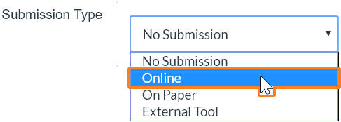"A screenshot from the Canvas ""Create new assignment"" page. The ""Submission Type"" dropdown has been clicked. The cursor hovers over ""Online"" which is also outlined in red to help point it out."