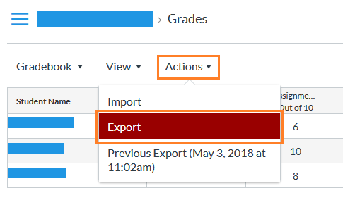 Location of Export button within the Canvas Gradebook