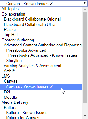 "A screenshot from the Learn@UW KnowledgeBase showing the topics drop-down with the ""Canvas - Known Issues"" topic selected."