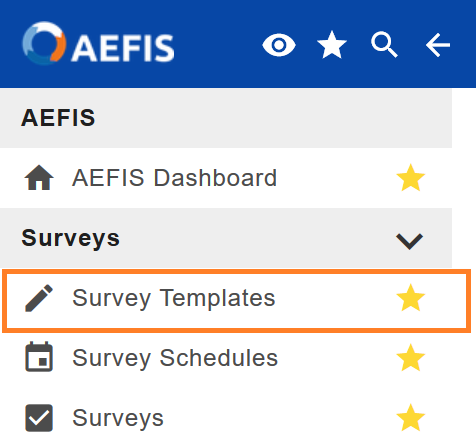 Survey Templates option in the main AEFIS menu