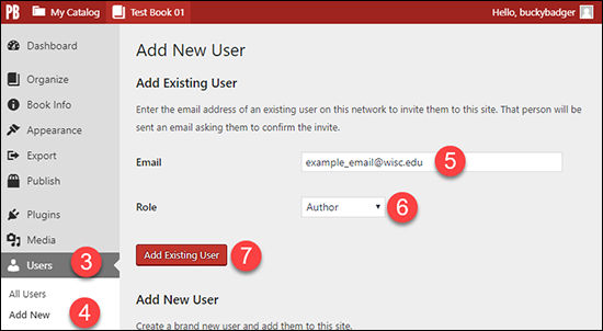 "Screenshot showing the Pressbooks ""Users - Add New User"" window with steps 3 through 7 numbered."