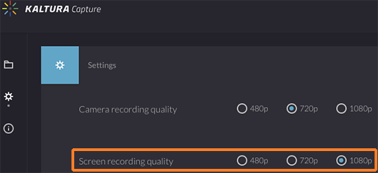 "A screenshot showing the Kaltura Capture ""Settings"" screen. The ""Screen recording quality"" preference has been outlined in red to help point it out. The radio button for 1080p has been selected for greatest quality."