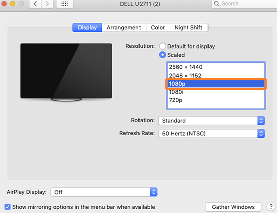 "A screenshot showing the OSX ""Displays"" system preference for a non-Apple external monitor connected to a Mac. The user has selected ""1080p"" as the screen's resolution for recording with Kaltura Capture."" alt=""A screenshot showing the OSX ""Displays"" system preference for a non-Apple external monitor connected to a Mac. The user has selected ""1080p"" as the screen's resolution for recording with Kaltura Capture."