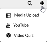 "A screenshot showing the Kaltura MediaSpace ""Add New"" drop-down menu options visible when the user's browser has a width greater than 1321 pixels. There are options for ""Media Upload"", ""YouTube"", and ""Video Quiz."""
