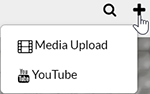"A screenshot showing the Kaltura MediaSpace ""Add New"" drop-down menu options visible when the user's browser has a width less than 1127 pixels. There are options for ""Media Upload"", and ""YouTube""."