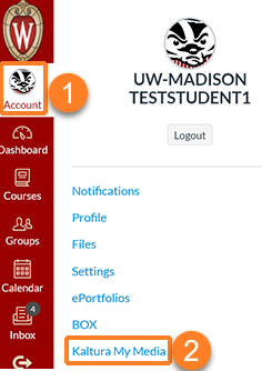 "A screenshot showing the user having clicked their user profile icon in the upper left which is outlined in orange and labeled ""1"". A flyout menu opens which is displayed - ""Kaltura My Media"" is outlined in orangea and labeled ""2""."