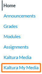 "A screenshot showing a Canvas course's navigation options where ""Kaltura My Media"" has been activated. ""Kaltura My Media"" is outlined in orange to help draw attention to it."