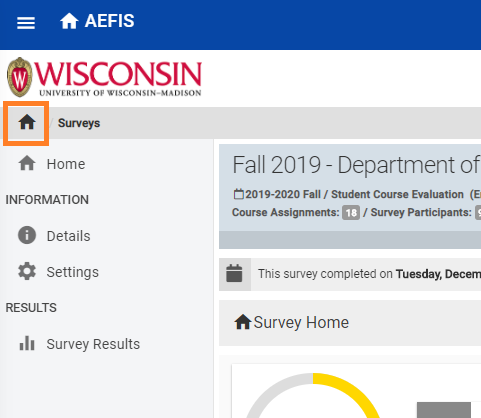 To access the AEFIS course dashboard, click on the house icon in the top left corner of the screen within the grey ribbon.