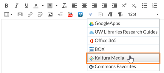 "A screenshot showing the Canvas rich content editor. The user has clicked on the blue ""V"" icon to open the external tools menu. The cursor hovers over ""Kaltura Media"" which is outlined in red."