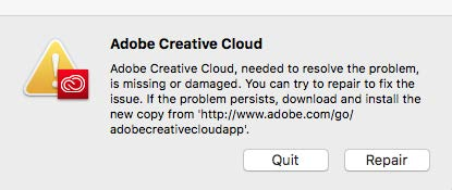 ADobe Creative Cloud Error Message