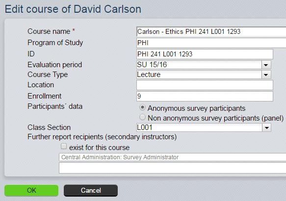 Edit course information
