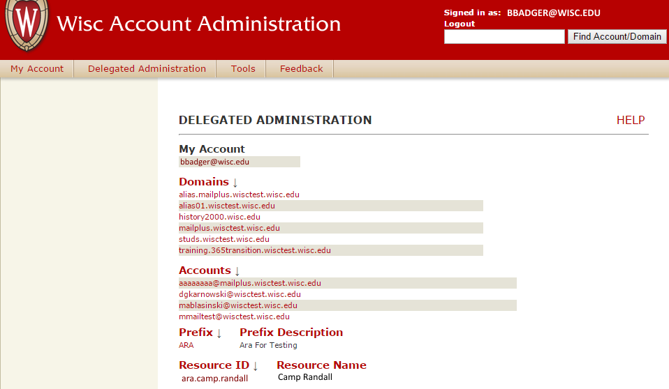 Delegated Administration screen