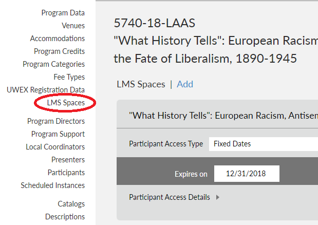 Screenshot showing LMS Spaces tab on Program Detail page