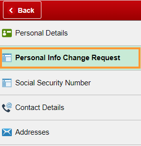 Personal Info Change Request
