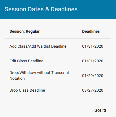 Session dates and deadlines pop up window