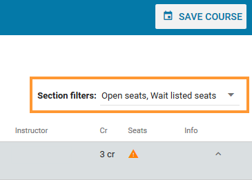 Sections panel filters