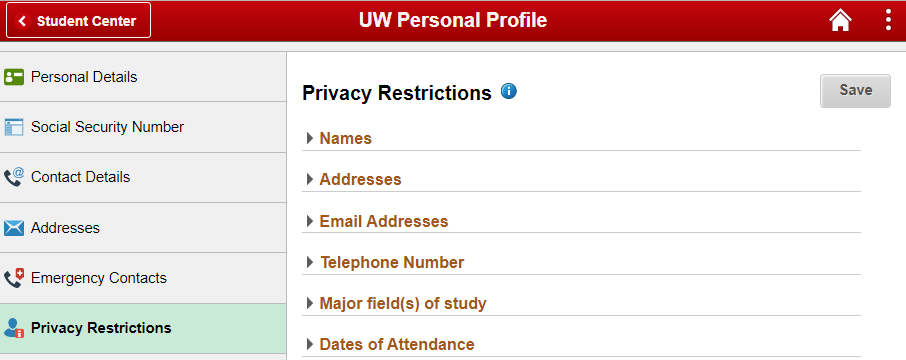 Privacy restrictions page