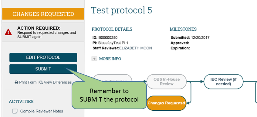 submit protocol button