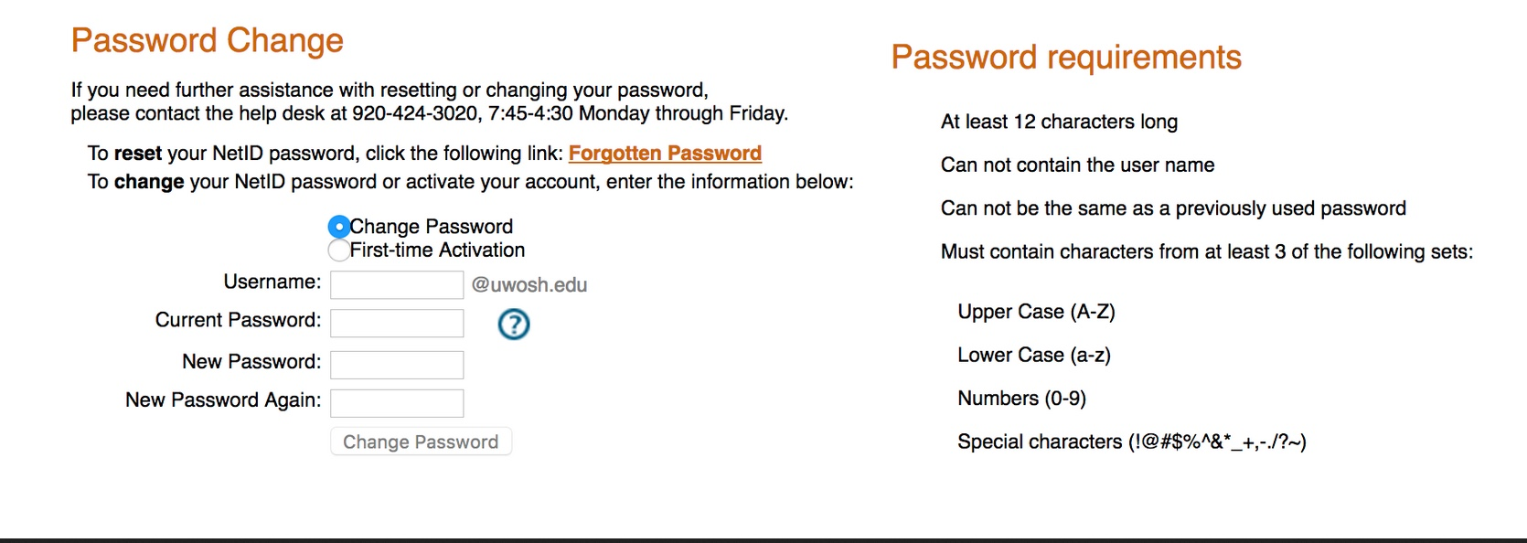 NetID Change Password