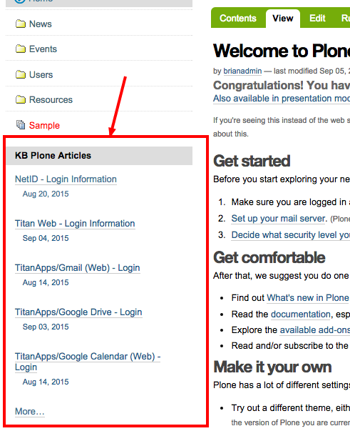 Plone Portlet Results