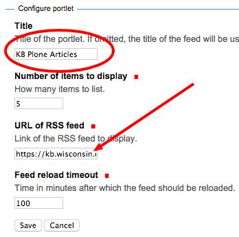Configure the RSS Portlet