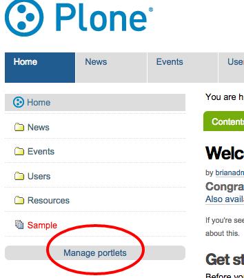 Manage Portlets link