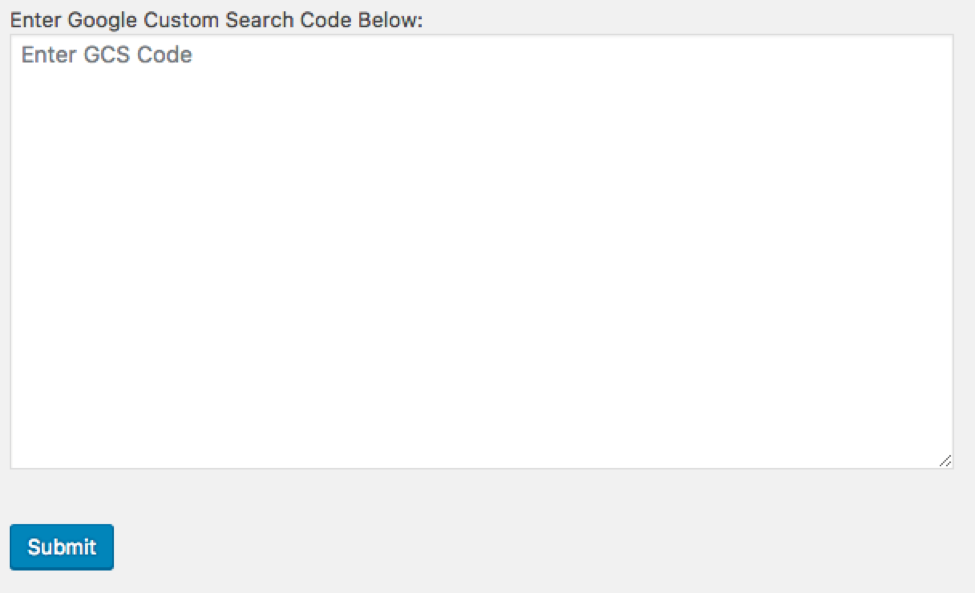 Google Custom Search code entered