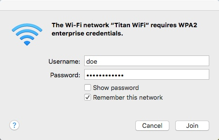 Authenticate to Titan Wifi on Mac