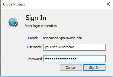 GlobalProtect username and password prompt