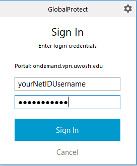 GlobalProtect username and password prompt alternate