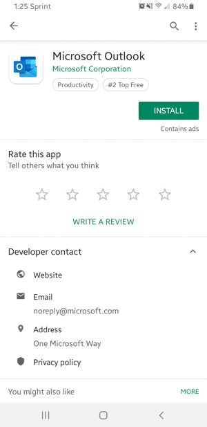 Outlook on the Play Store