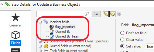 Example of Updating Fields in the 'Update Business Object' Action