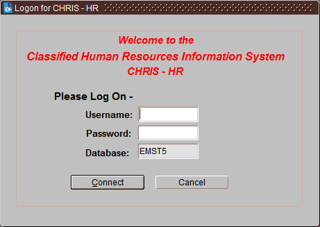 JEMS CHRIS HR Login Screen