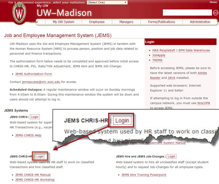 JEMS Homepage CHRIS HR Login Button