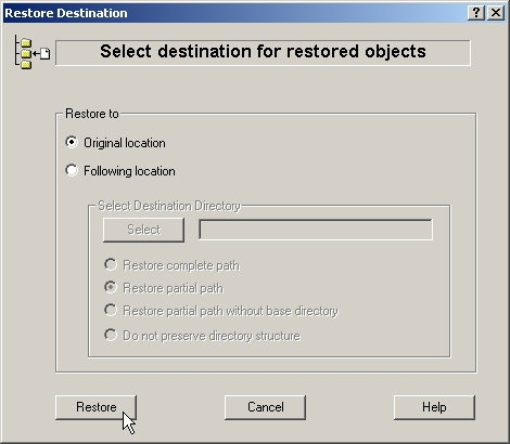 Select destination for restored objects