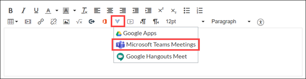 "Canvas rich text editor, with the v-shaped ""More External Tools"" button and the ""Microsoft Teams Meetings"" option highlighted."