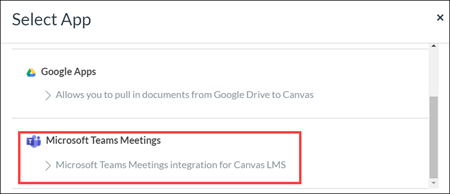 Select Apps menu with Microsoft Teams Meetings highlighted.
