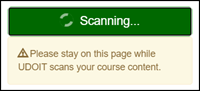 "UDOIT message indicating ""Scanning... Please stay on this page while UDOIT scans your course content."""