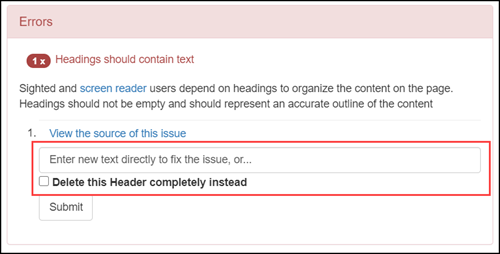 U FIX IT! offering options to fix an accessibility issue with a text entry box or a checkbox.