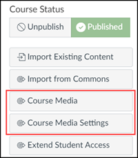 Canvas homepage right-hand-side navigation with Course Media button highlighted.