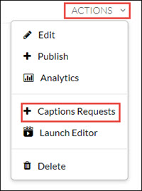 Actions menu, with Captions Requests selected.