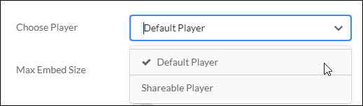 Choose Player menu with options for Default Player or Sharable Player.