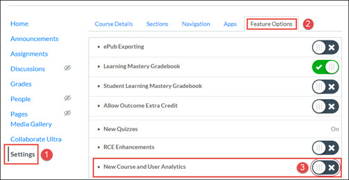 Course settings screen with Feature Options tab selected. New Course and User Analytics toggle button is highlighted, and happens to be set to
